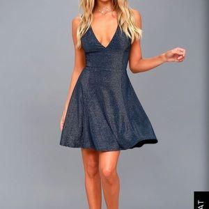 Lulus navy blue sparkle dress